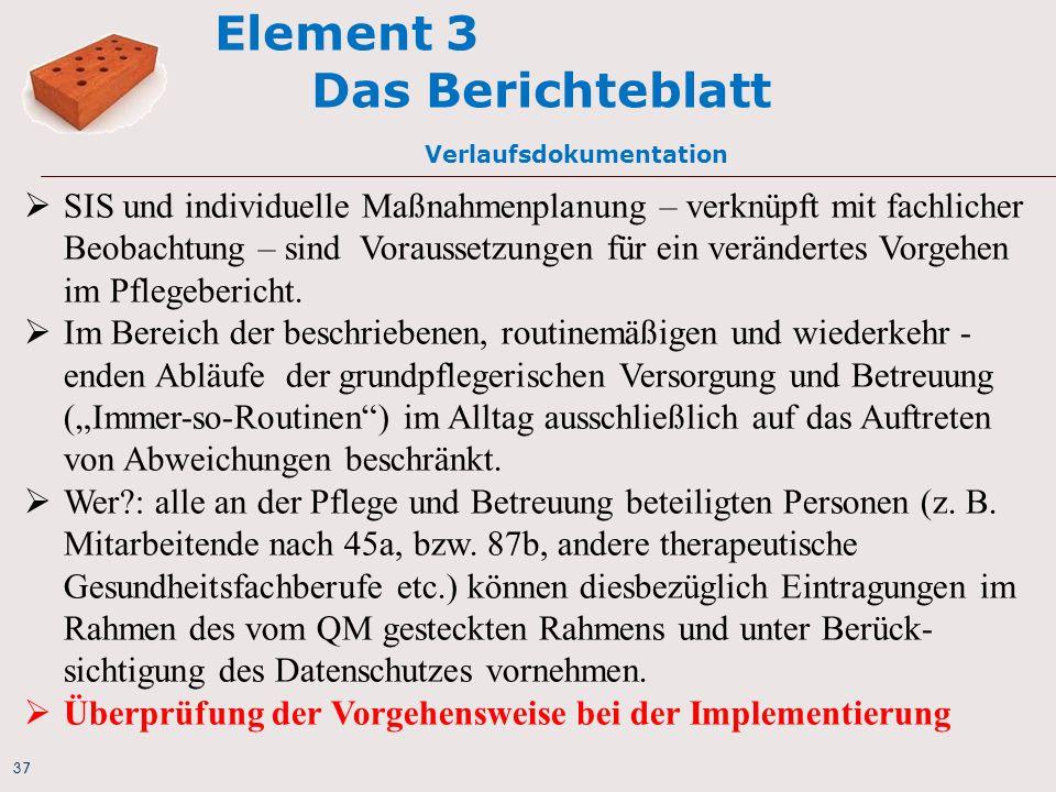 37 Element 3 Das Berichteblatt Verlaufsdokumentation  SIS und individuelle Maßnahmenplanung – verknüpft mit fachlicher Beobachtung – sind Voraussetz