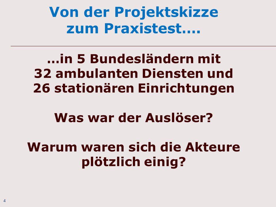 4 Von der Projektskizze zum Praxistest…. …in 5 Bundesländern mit 32 ambulanten Diensten und 26 stationären Einrichtungen Was war der Auslöser? Warum w