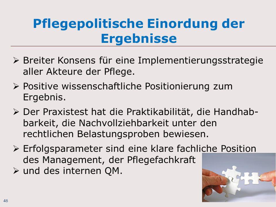46 Pflegepolitische Einordung der Ergebnisse  Breiter Konsens für eine Implementierungsstrategie aller Akteure der Pflege.  Positive wissenschaftlic