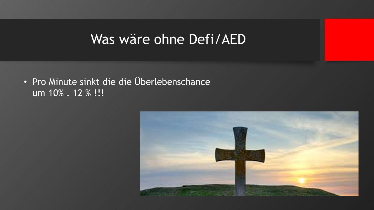 Was wäre ohne Defi/AED Pro Minute sinkt die die Überlebenschance um 10%. 12 % !!!