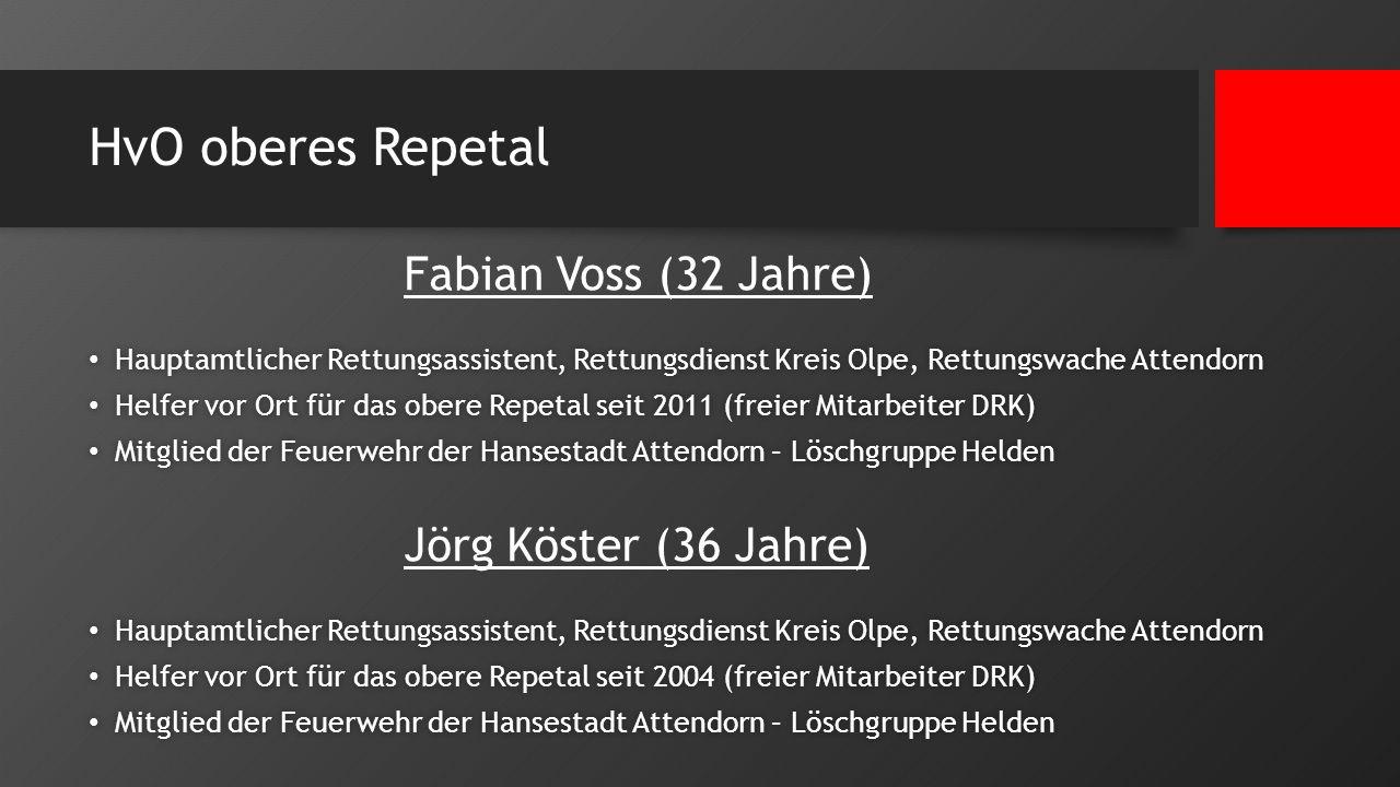 HvO oberes Repetal Fabian Voss (32 Jahre) Hauptamtlicher Rettungsassistent, Rettungsdienst Kreis Olpe, Rettungswache Attendorn Hauptamtlicher Rettungs