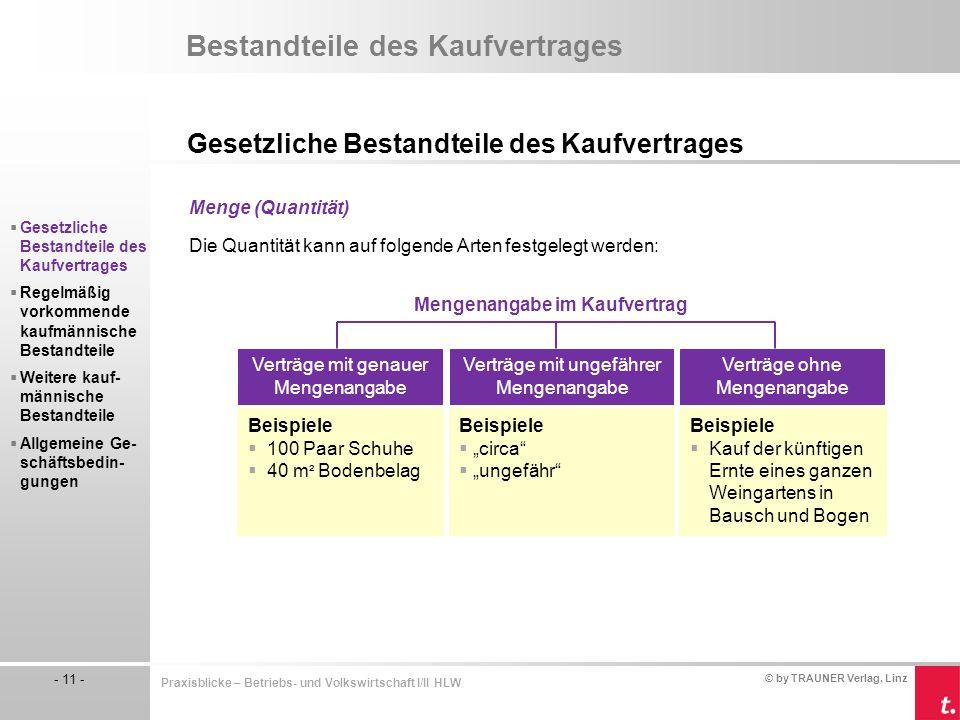 © by TRAUNER Verlag, Linz - 11 - Praxisblicke – Betriebs- und Volkswirtschaft I/II HLW Bestandteile des Kaufvertrages Gesetzliche Bestandteile des Kau