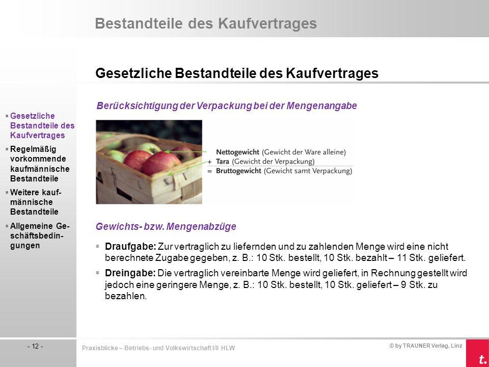 © by TRAUNER Verlag, Linz - 12 - Praxisblicke – Betriebs- und Volkswirtschaft I/II HLW Bestandteile des Kaufvertrages Gesetzliche Bestandteile des Kau