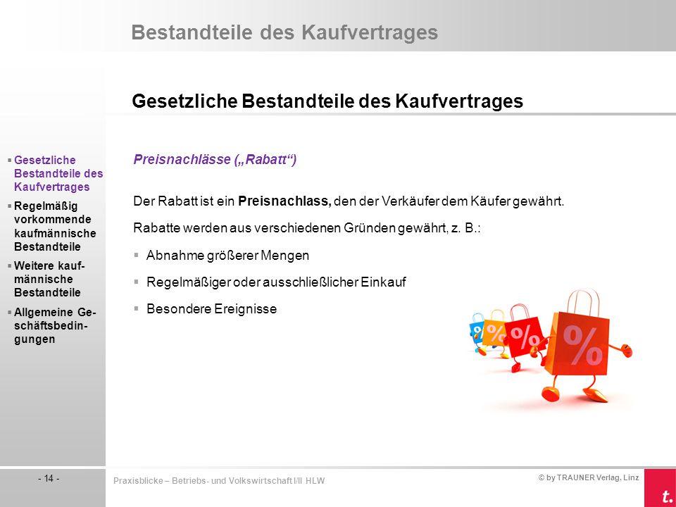 © by TRAUNER Verlag, Linz - 14 - Praxisblicke – Betriebs- und Volkswirtschaft I/II HLW Bestandteile des Kaufvertrages Gesetzliche Bestandteile des Kau