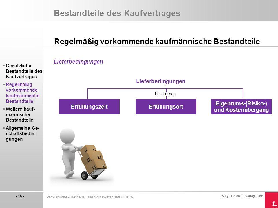 © by TRAUNER Verlag, Linz - 16 - Praxisblicke – Betriebs- und Volkswirtschaft I/II HLW Bestandteile des Kaufvertrages Regelmäßig vorkommende kaufmänni