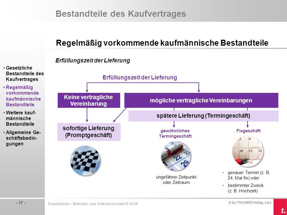 © by TRAUNER Verlag, Linz - 17 - Praxisblicke – Betriebs- und Volkswirtschaft I/II HLW Bestandteile des Kaufvertrages Regelmäßig vorkommende kaufmänni