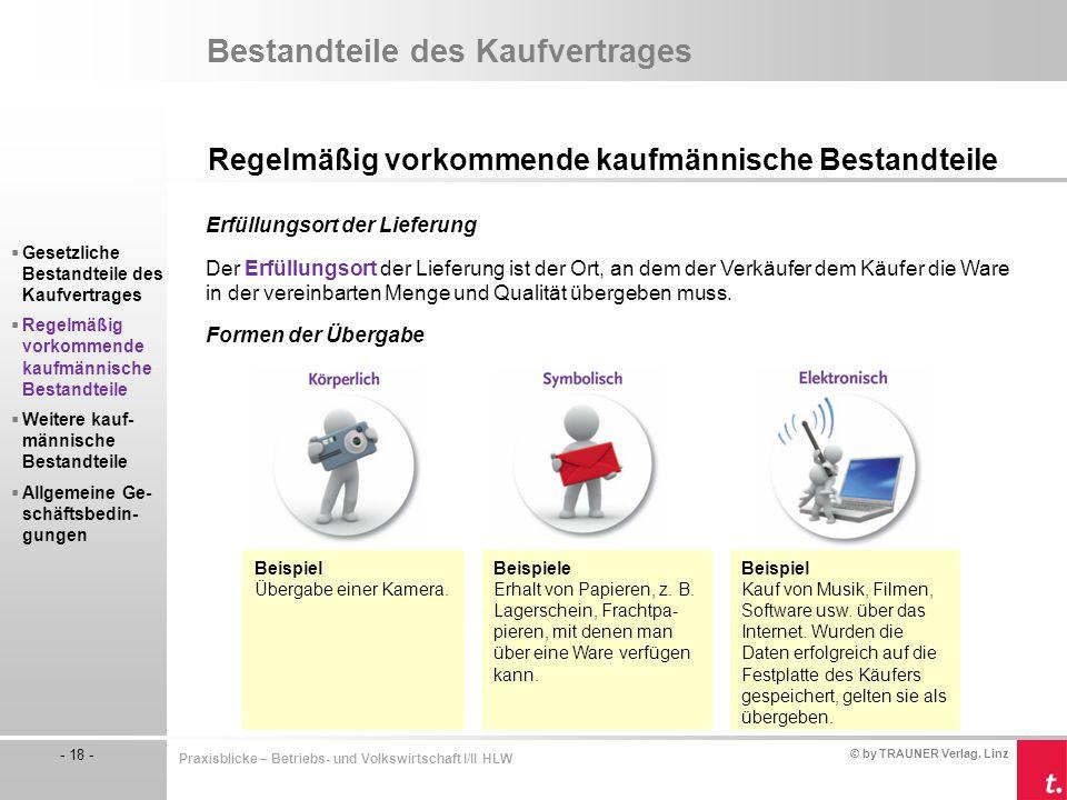 © by TRAUNER Verlag, Linz - 18 - Praxisblicke – Betriebs- und Volkswirtschaft I/II HLW Bestandteile des Kaufvertrages Regelmäßig vorkommende kaufmänni