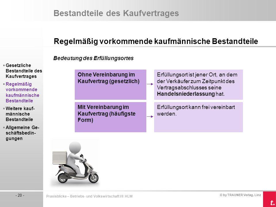 © by TRAUNER Verlag, Linz - 20 - Praxisblicke – Betriebs- und Volkswirtschaft I/II HLW Bestandteile des Kaufvertrages Regelmäßig vorkommende kaufmänni
