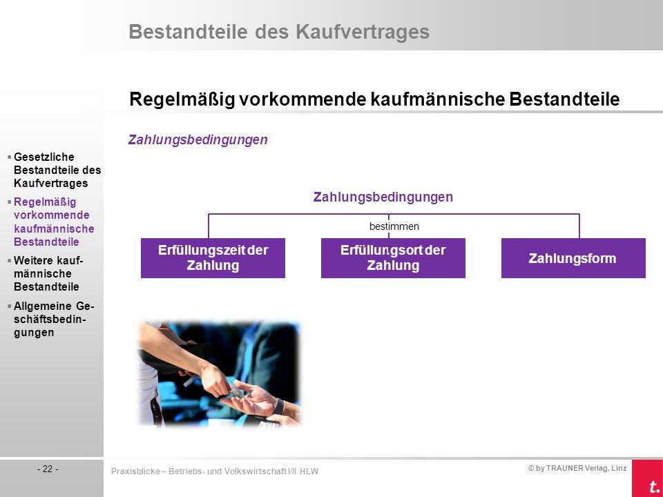 © by TRAUNER Verlag, Linz - 22 - Praxisblicke – Betriebs- und Volkswirtschaft I/II HLW Bestandteile des Kaufvertrages Regelmäßig vorkommende kaufmänni