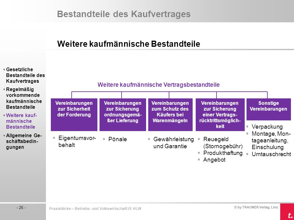 © by TRAUNER Verlag, Linz - 26 - Praxisblicke – Betriebs- und Volkswirtschaft I/II HLW Bestandteile des Kaufvertrages Weitere kaufmännische Bestandtei
