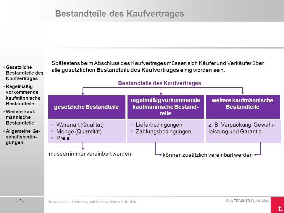 """© by TRAUNER Verlag, Linz - 14 - Praxisblicke – Betriebs- und Volkswirtschaft I/II HLW Bestandteile des Kaufvertrages Gesetzliche Bestandteile des Kaufvertrages Preisnachlässe (""""Rabatt ) Der Rabatt ist ein Preisnachlass, den der Verkäufer dem Käufer gewährt."""