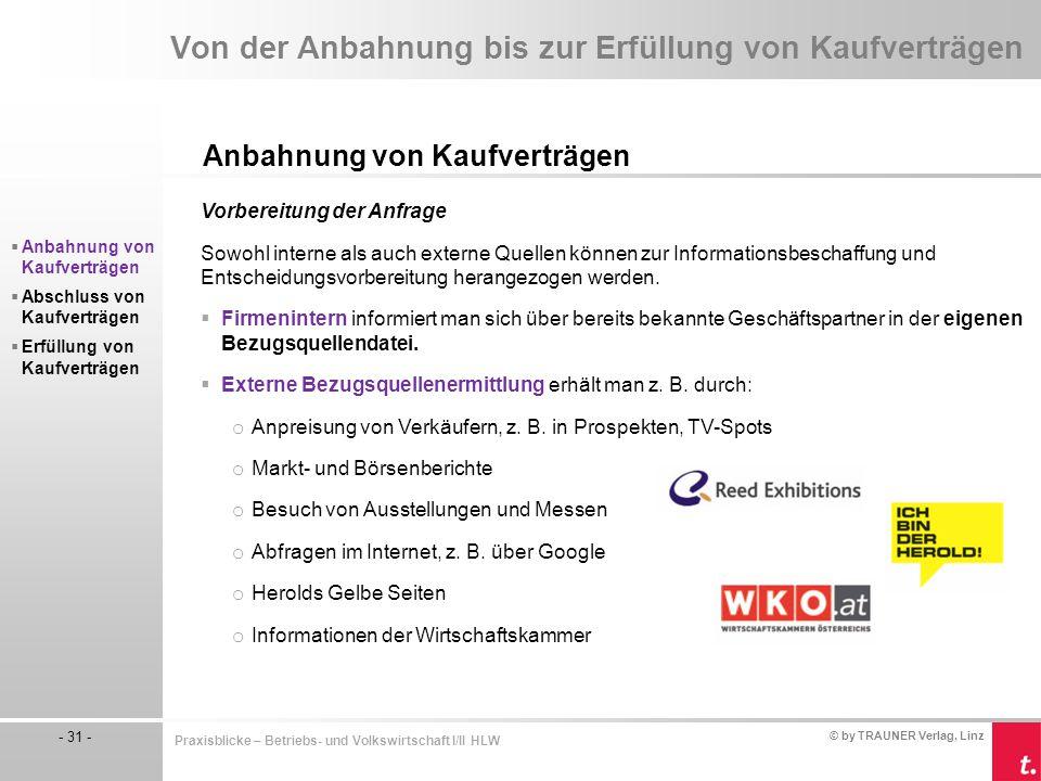 © by TRAUNER Verlag, Linz - 31 - Praxisblicke – Betriebs- und Volkswirtschaft I/II HLW Von der Anbahnung bis zur Erfüllung von Kaufverträgen Anbahnung