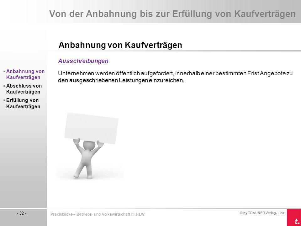© by TRAUNER Verlag, Linz - 32 - Praxisblicke – Betriebs- und Volkswirtschaft I/II HLW Von der Anbahnung bis zur Erfüllung von Kaufverträgen Anbahnung