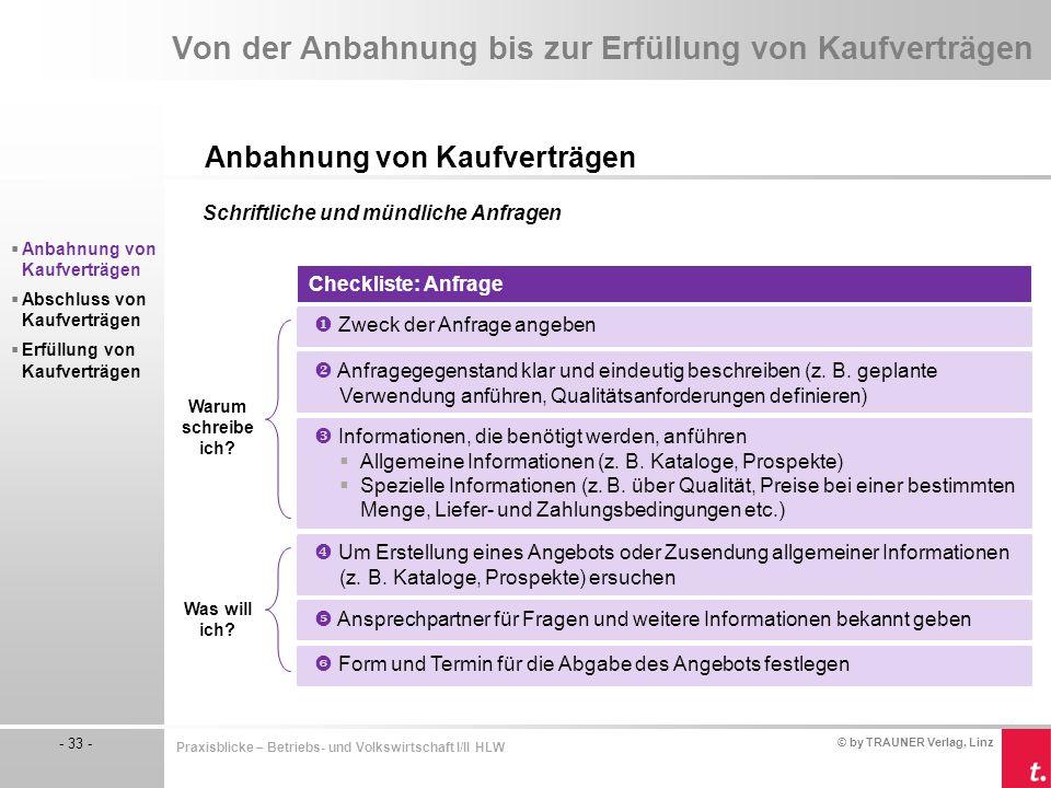 © by TRAUNER Verlag, Linz - 33 - Praxisblicke – Betriebs- und Volkswirtschaft I/II HLW Von der Anbahnung bis zur Erfüllung von Kaufverträgen Anbahnung