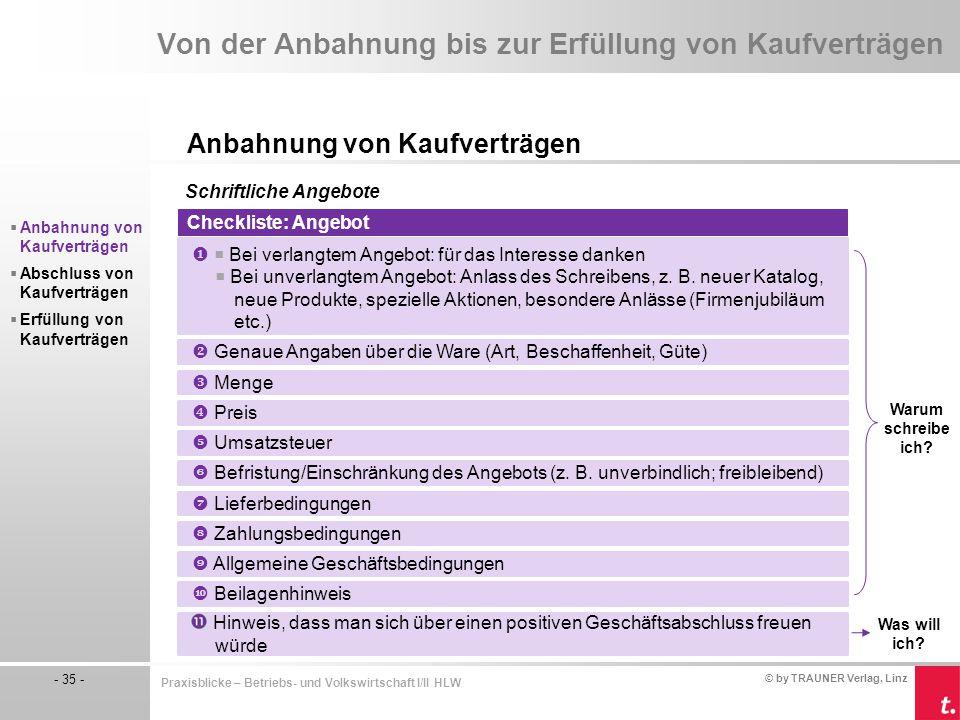© by TRAUNER Verlag, Linz - 35 - Praxisblicke – Betriebs- und Volkswirtschaft I/II HLW Von der Anbahnung bis zur Erfüllung von Kaufverträgen Anbahnung