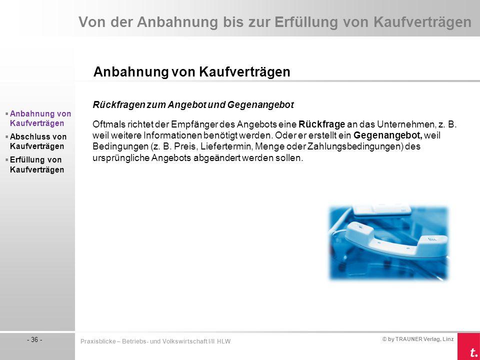 © by TRAUNER Verlag, Linz - 36 - Praxisblicke – Betriebs- und Volkswirtschaft I/II HLW Von der Anbahnung bis zur Erfüllung von Kaufverträgen Anbahnung