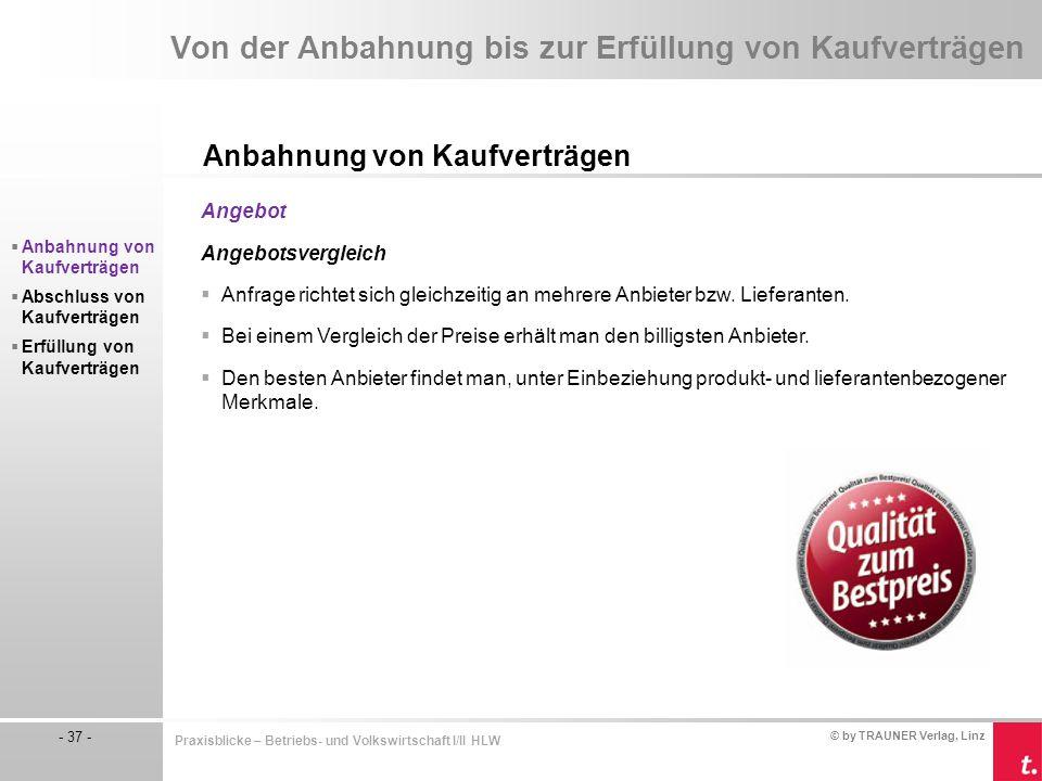 © by TRAUNER Verlag, Linz - 37 - Praxisblicke – Betriebs- und Volkswirtschaft I/II HLW Von der Anbahnung bis zur Erfüllung von Kaufverträgen Anbahnung