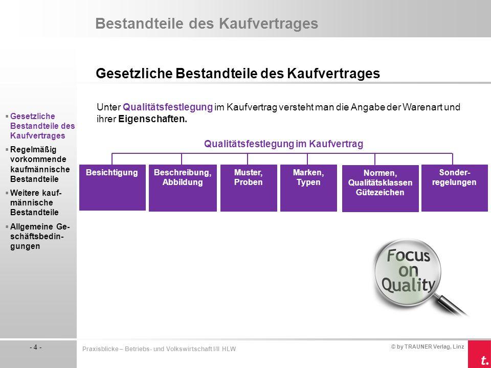 © by TRAUNER Verlag, Linz - 4 - Praxisblicke – Betriebs- und Volkswirtschaft I/II HLW Bestandteile des Kaufvertrages Gesetzliche Bestandteile des Kauf