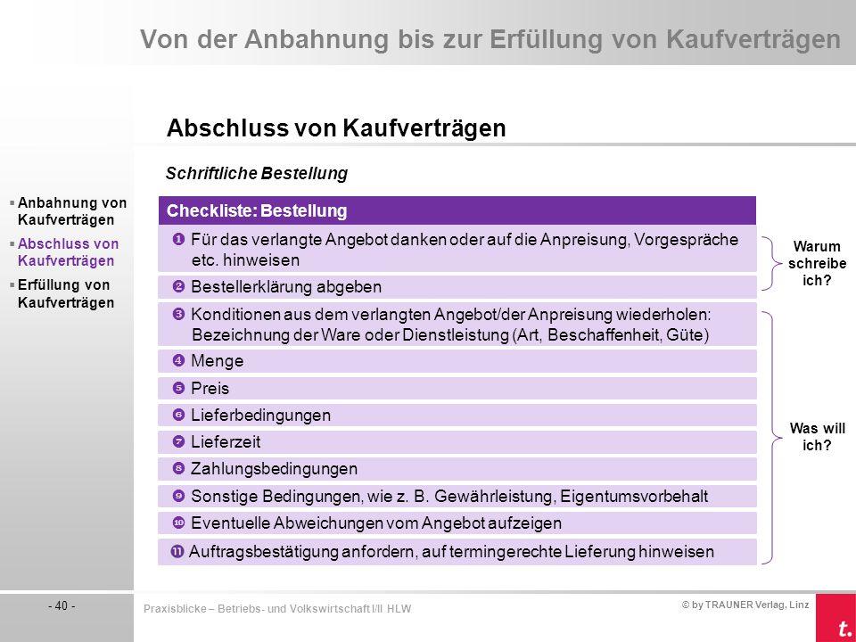 © by TRAUNER Verlag, Linz - 40 - Praxisblicke – Betriebs- und Volkswirtschaft I/II HLW Von der Anbahnung bis zur Erfüllung von Kaufverträgen Abschluss