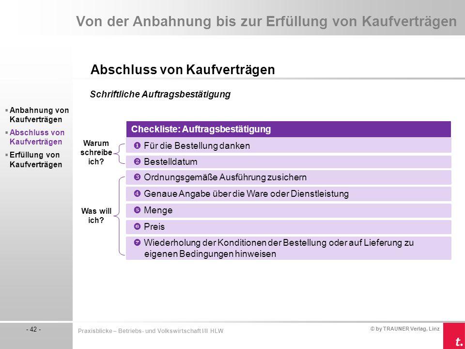 © by TRAUNER Verlag, Linz - 42 - Praxisblicke – Betriebs- und Volkswirtschaft I/II HLW Von der Anbahnung bis zur Erfüllung von Kaufverträgen Abschluss