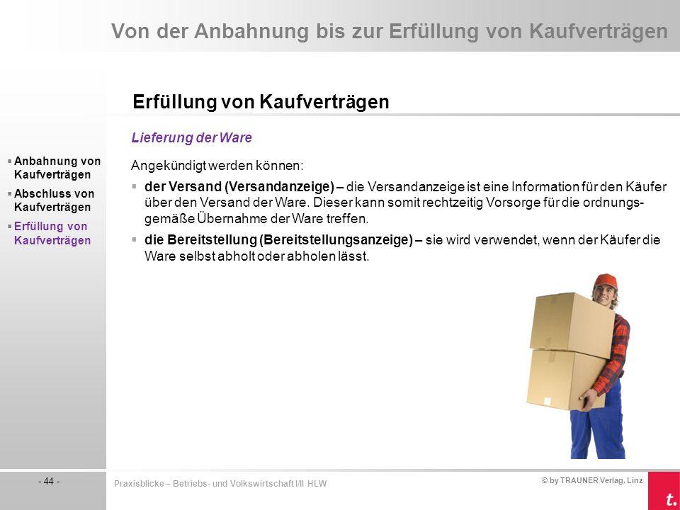 © by TRAUNER Verlag, Linz - 44 - Praxisblicke – Betriebs- und Volkswirtschaft I/II HLW Von der Anbahnung bis zur Erfüllung von Kaufverträgen Erfüllung