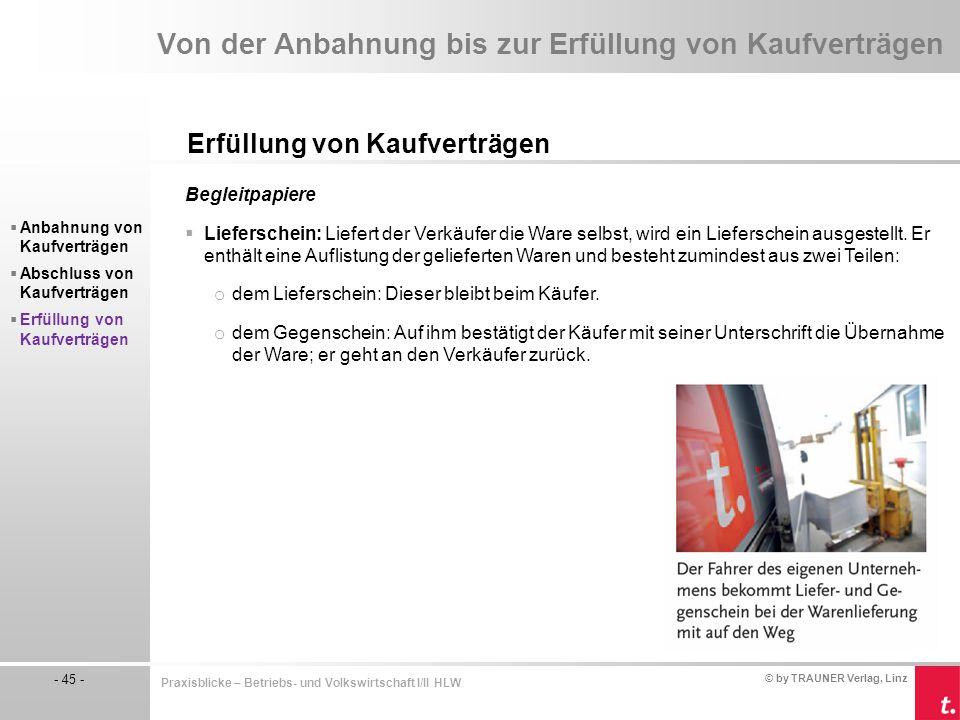 © by TRAUNER Verlag, Linz - 45 - Praxisblicke – Betriebs- und Volkswirtschaft I/II HLW Von der Anbahnung bis zur Erfüllung von Kaufverträgen Erfüllung