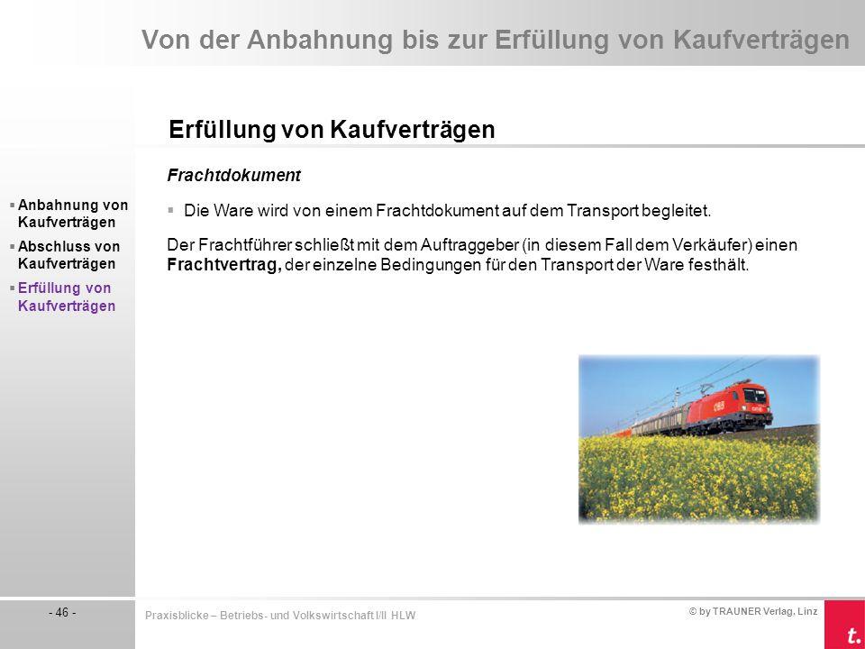 © by TRAUNER Verlag, Linz - 46 - Praxisblicke – Betriebs- und Volkswirtschaft I/II HLW Von der Anbahnung bis zur Erfüllung von Kaufverträgen Erfüllung