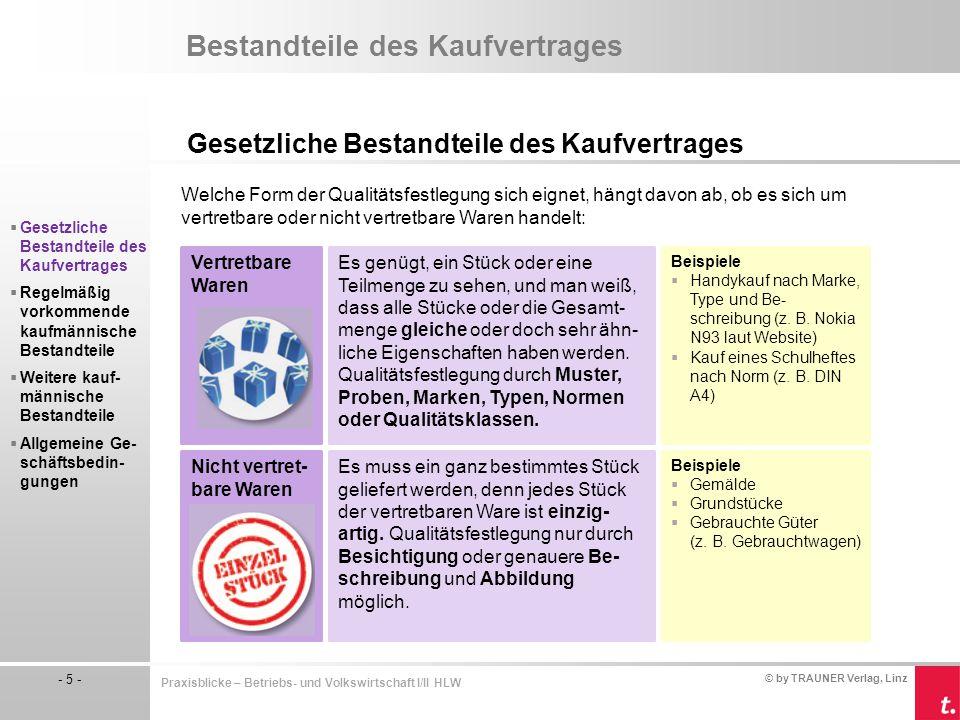 © by TRAUNER Verlag, Linz - 6 - Praxisblicke – Betriebs- und Volkswirtschaft I/II HLW Bestandteile des Kaufvertrages Gesetzliche Bestandteile des Kaufvertrages Besichtigung  Käufer kann die Ware selbst prüfen.