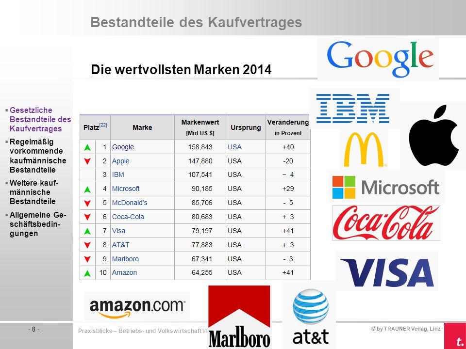 © by TRAUNER Verlag, Linz - 8 - Praxisblicke – Betriebs- und Volkswirtschaft I/II HLW Bestandteile des Kaufvertrages Die wertvollsten Marken 2014  Ge