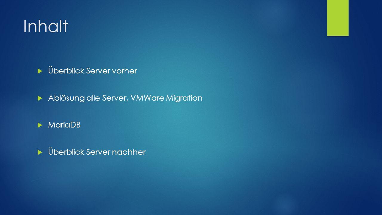 Inhalt  Überblick Server vorher  Ablösung alle Server, VMWare Migration  MariaDB  Überblick Server nachher