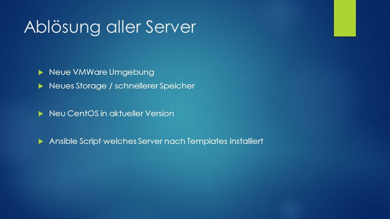 Ablösung aller Server  Neue VMWare Umgebung  Neues Storage / schnellerer Speicher  Neu CentOS in aktueller Version  Ansible Script welches Server