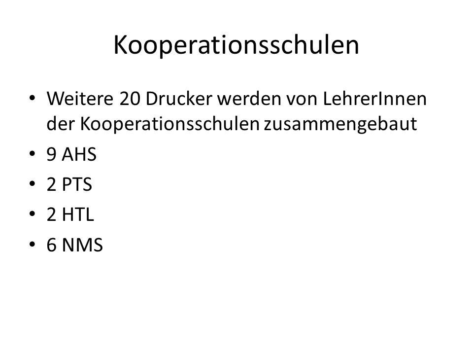 Kooperationsschulen Weitere 20 Drucker werden von LehrerInnen der Kooperationsschulen zusammengebaut 9 AHS 2 PTS 2 HTL 6 NMS