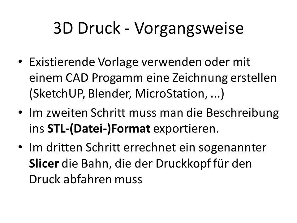 3D Druck - Vorgangsweise Existierende Vorlage verwenden oder mit einem CAD Progamm eine Zeichnung erstellen (SketchUP, Blender, MicroStation,...) Im zweiten Schritt muss man die Beschreibung ins STL-(Datei-)Format exportieren.