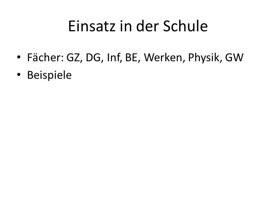 Einsatz in der Schule Fächer: GZ, DG, Inf, BE, Werken, Physik, GW Beispiele
