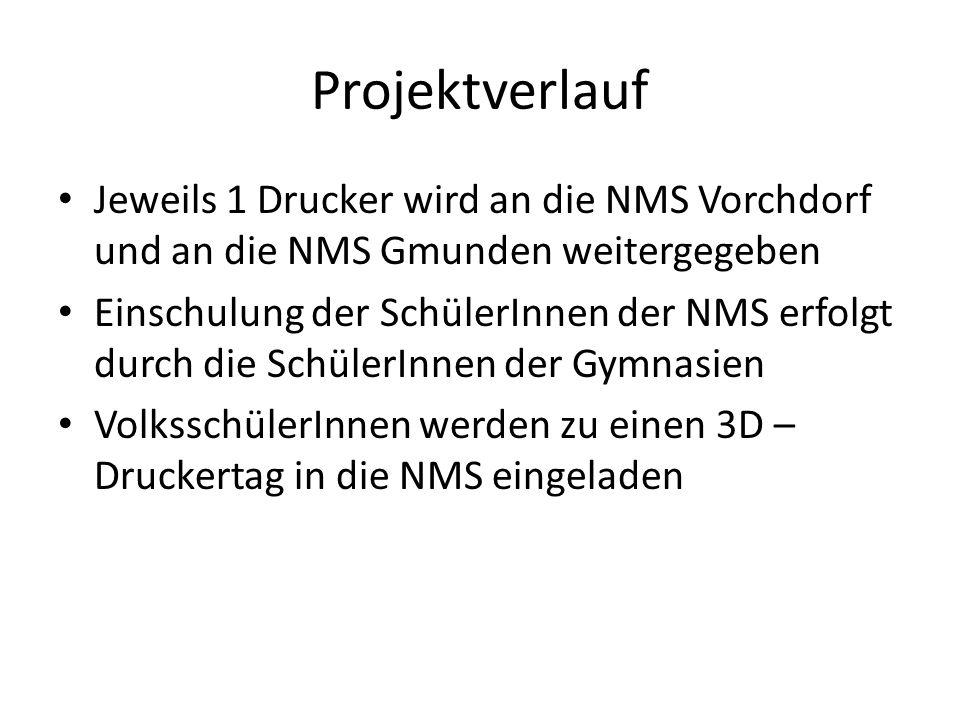 Projektverlauf Jeweils 1 Drucker wird an die NMS Vorchdorf und an die NMS Gmunden weitergegeben Einschulung der SchülerInnen der NMS erfolgt durch die SchülerInnen der Gymnasien VolksschülerInnen werden zu einen 3D – Druckertag in die NMS eingeladen