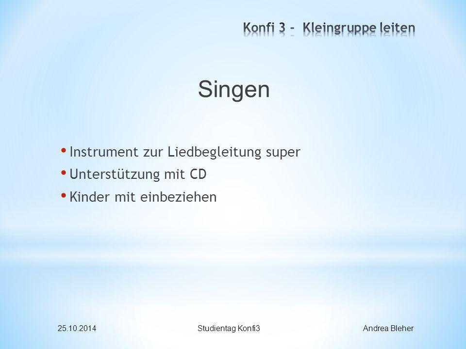 Singen Instrument zur Liedbegleitung super Unterstützung mit CD Kinder mit einbeziehen 25.10.2014Studientag Konfi3 Andrea Bleher