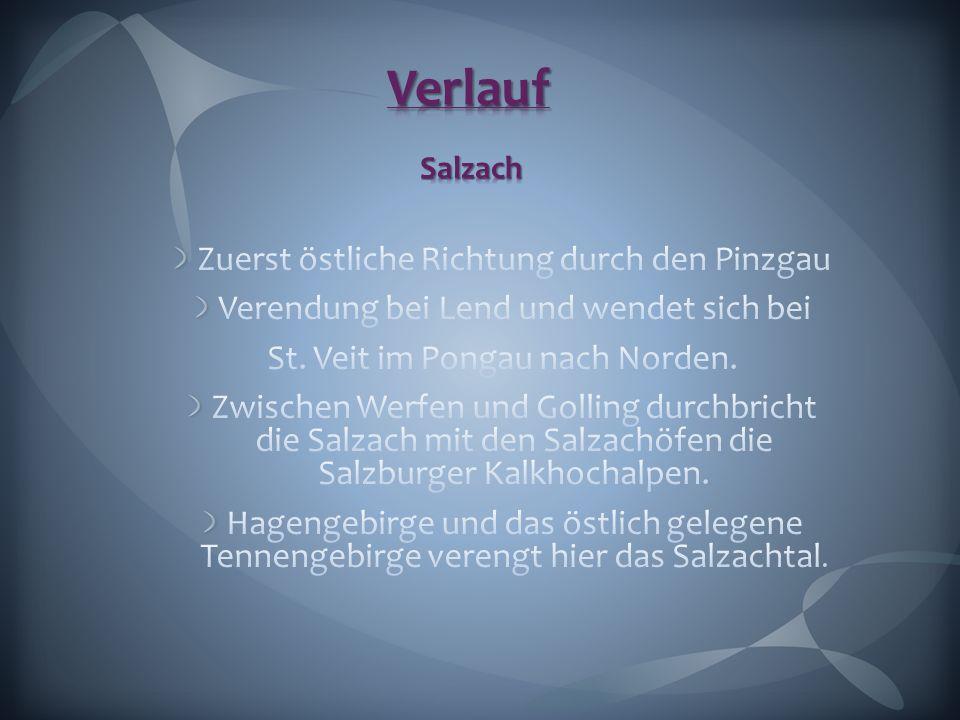 Zuerst östliche Richtung durch den Pinzgau Verendung bei Lend und wendet sich bei St. Veit im Pongau nach Norden. Zwischen Werfen und Golling durchbri