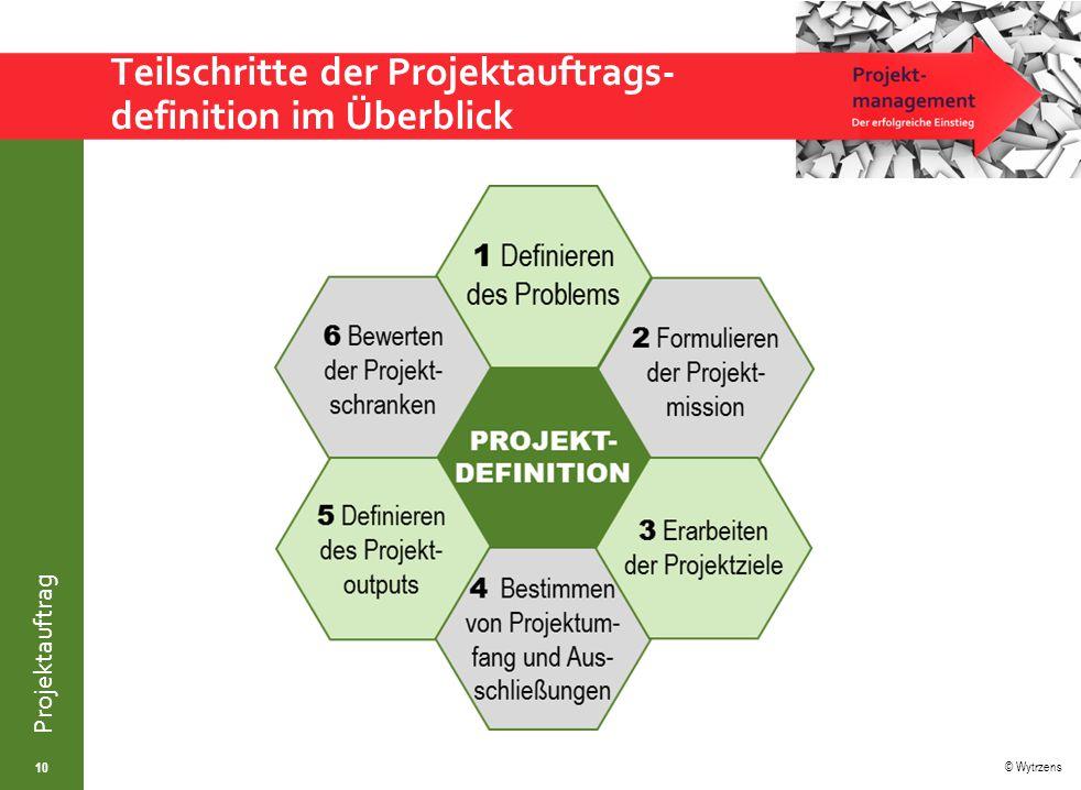 © Wytrzens Projektauftrag Teilschritte der Projektauftrags- definition im Überblick 10