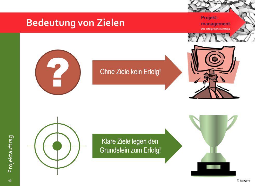 © Wytrzens Projektauftrag Bedeutung von Zielen 19 ? Klare Ziele legen den Grundstein zum Erfolg! Ohne Ziele kein Erfolg!