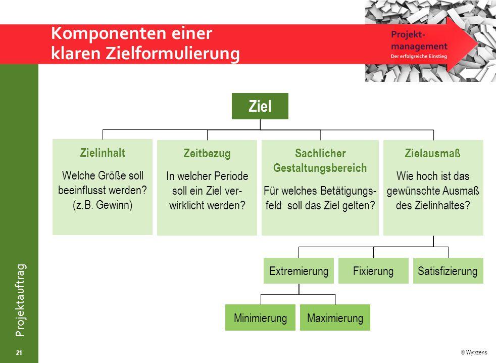 © Wytrzens Projektauftrag Zeitbezug In welcher Periode soll ein Ziel ver- wirklicht werden.