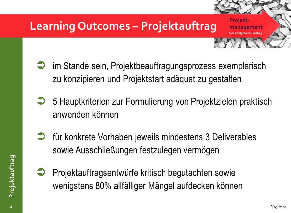 © Wytrzens Projektauftrag  im Stande sein, Projektbeauftragungsprozess exemplarisch zu konzipieren und Projektstart adäquat zu gestalten  5 Hauptkri