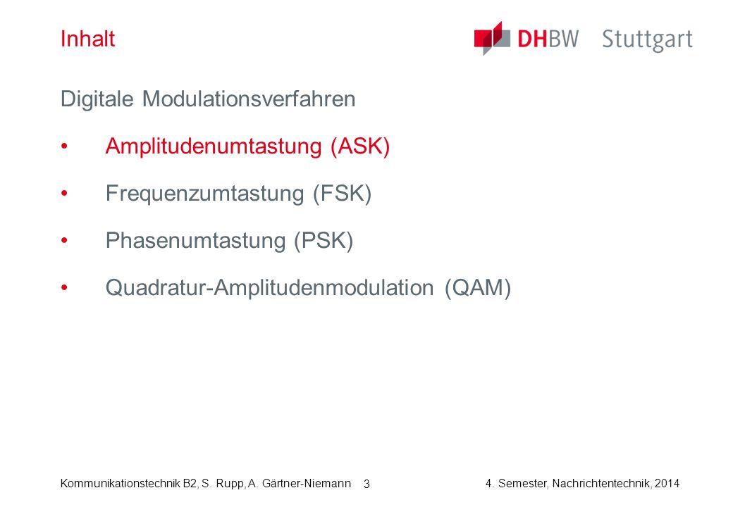 Kommunikationstechnik B2, S. Rupp, A. Gärtner-Niemann4. Semester, Nachrichtentechnik, 2014 3 Inhalt Digitale Modulationsverfahren Amplitudenumtastung