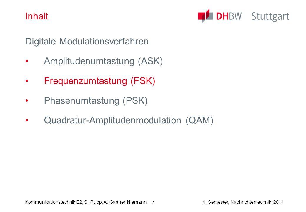Kommunikationstechnik B2, S. Rupp, A. Gärtner-Niemann4. Semester, Nachrichtentechnik, 2014 7 Inhalt Digitale Modulationsverfahren Amplitudenumtastung