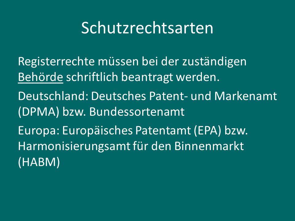 Schutzrechtsarten Registerrechte müssen bei der zuständigen Behörde schriftlich beantragt werden. Deutschland: Deutsches Patent- und Markenamt (DPMA)
