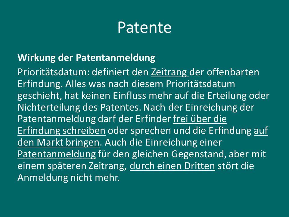 Patente Wirkung der Patentanmeldung Prioritätsdatum: definiert den Zeitrang der offenbarten Erfindung. Alles was nach diesem Prioritätsdatum geschieht