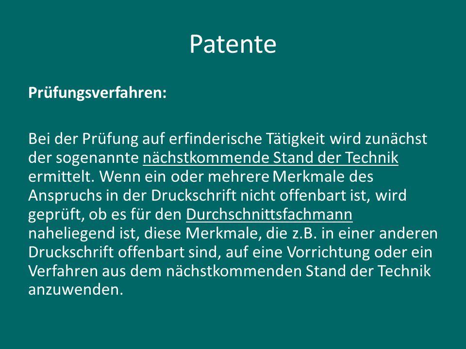 Patente Prüfungsverfahren: Bei der Prüfung auf erfinderische Tätigkeit wird zunächst der sogenannte nächstkommende Stand der Technik ermittelt. Wenn e