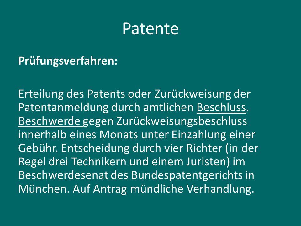 Patente Prüfungsverfahren: Erteilung des Patents oder Zurückweisung der Patentanmeldung durch amtlichen Beschluss. Beschwerde gegen Zurückweisungsbesc