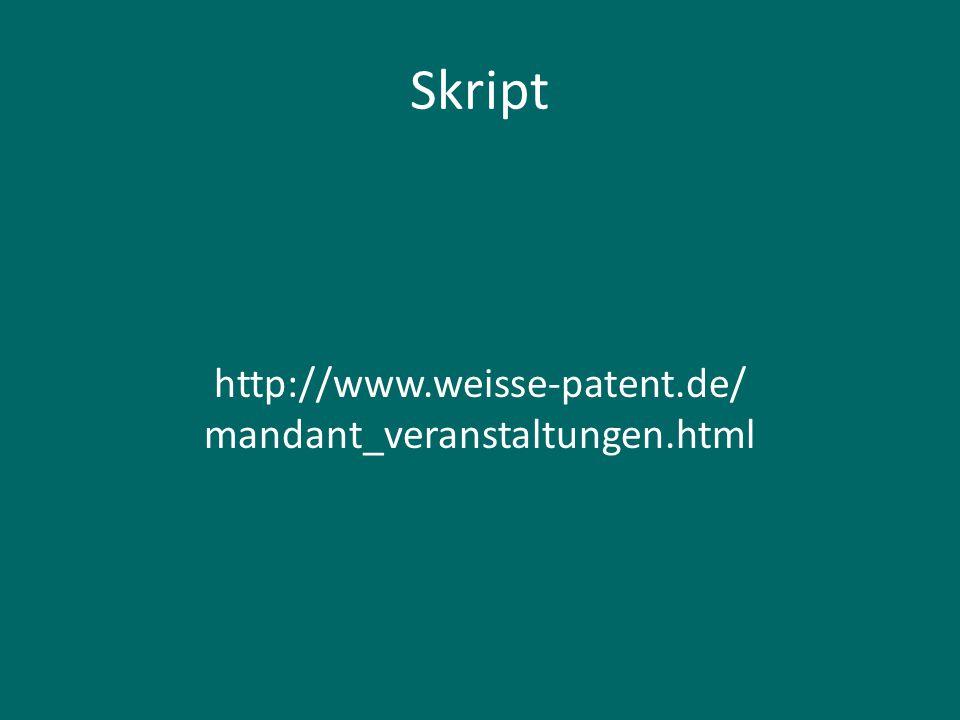 Rechtsgrundlagen Gesetze http://www.gesetze-im-internet.de Patentgesetz, Markengesetz, Geschmacksmustergesetz (Designgesetz), Gebrauchsmustergesetz, Gesetz über das Recht der Arbeitnehmererfindungen