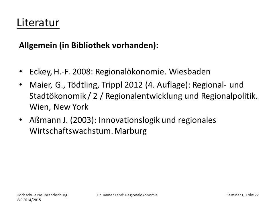 Literatur Hochschule Neubrandenburg WS 2014/2015 Dr.