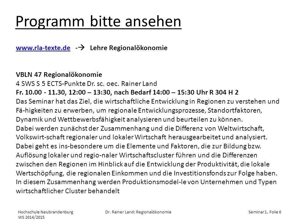 Programm bitte ansehen Hochschule Neubrandenburg WS 2014/2015 Dr.